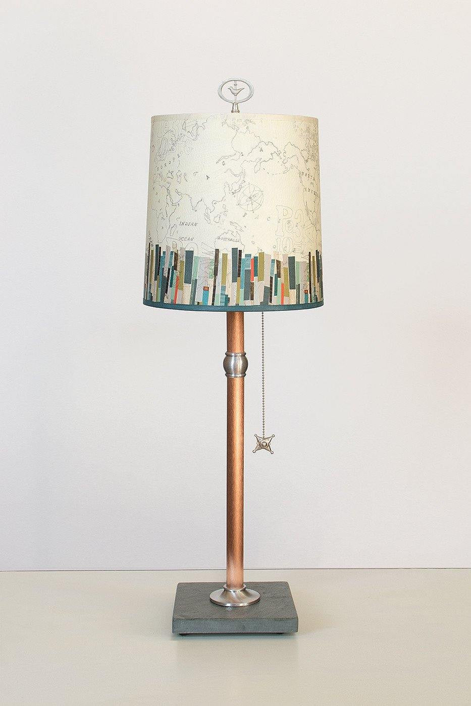 Copper Table Lamp with Medium Drum Shade in Papers Edge