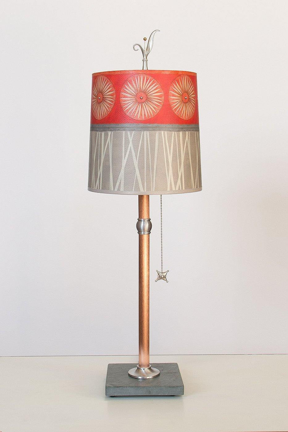 Copper Table Lamp with Medium Drum Shade in Tang