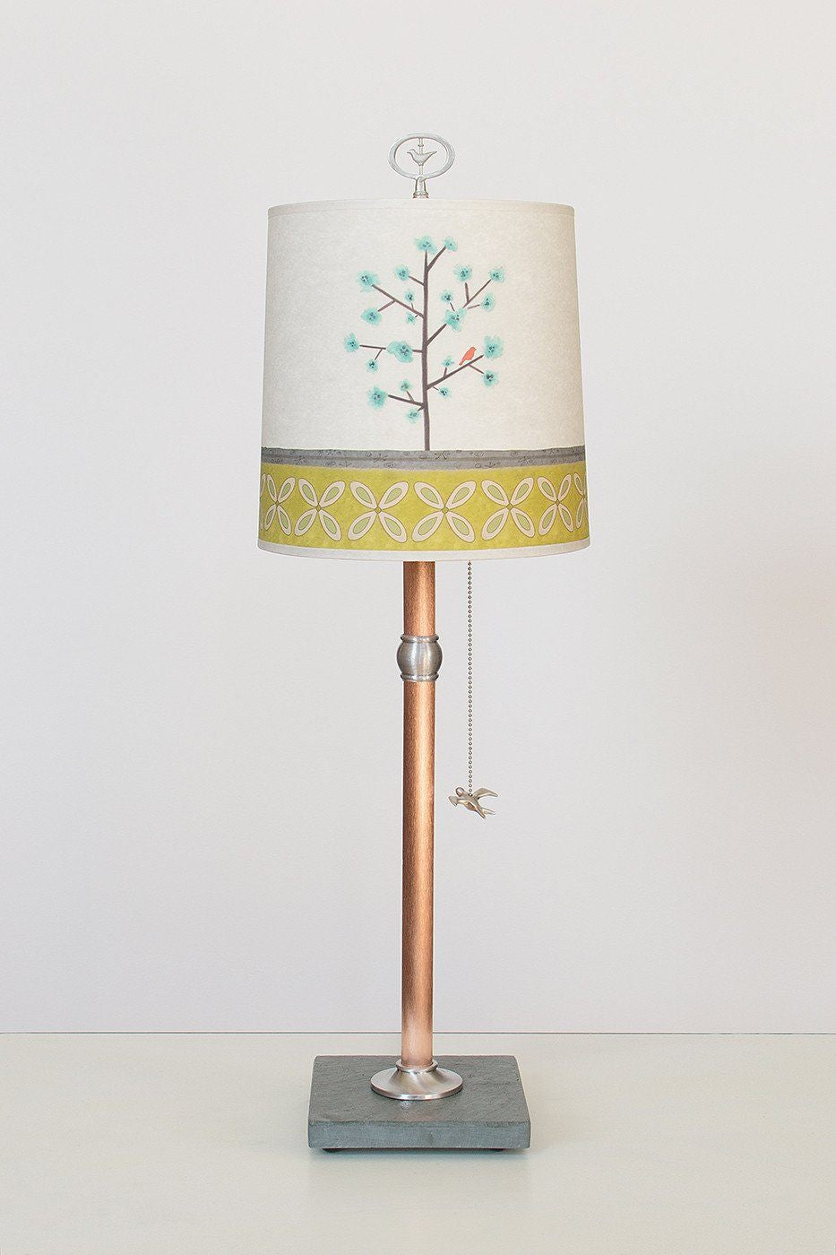 Copper Table Lamp with Medium Drum Shade in Tree Song