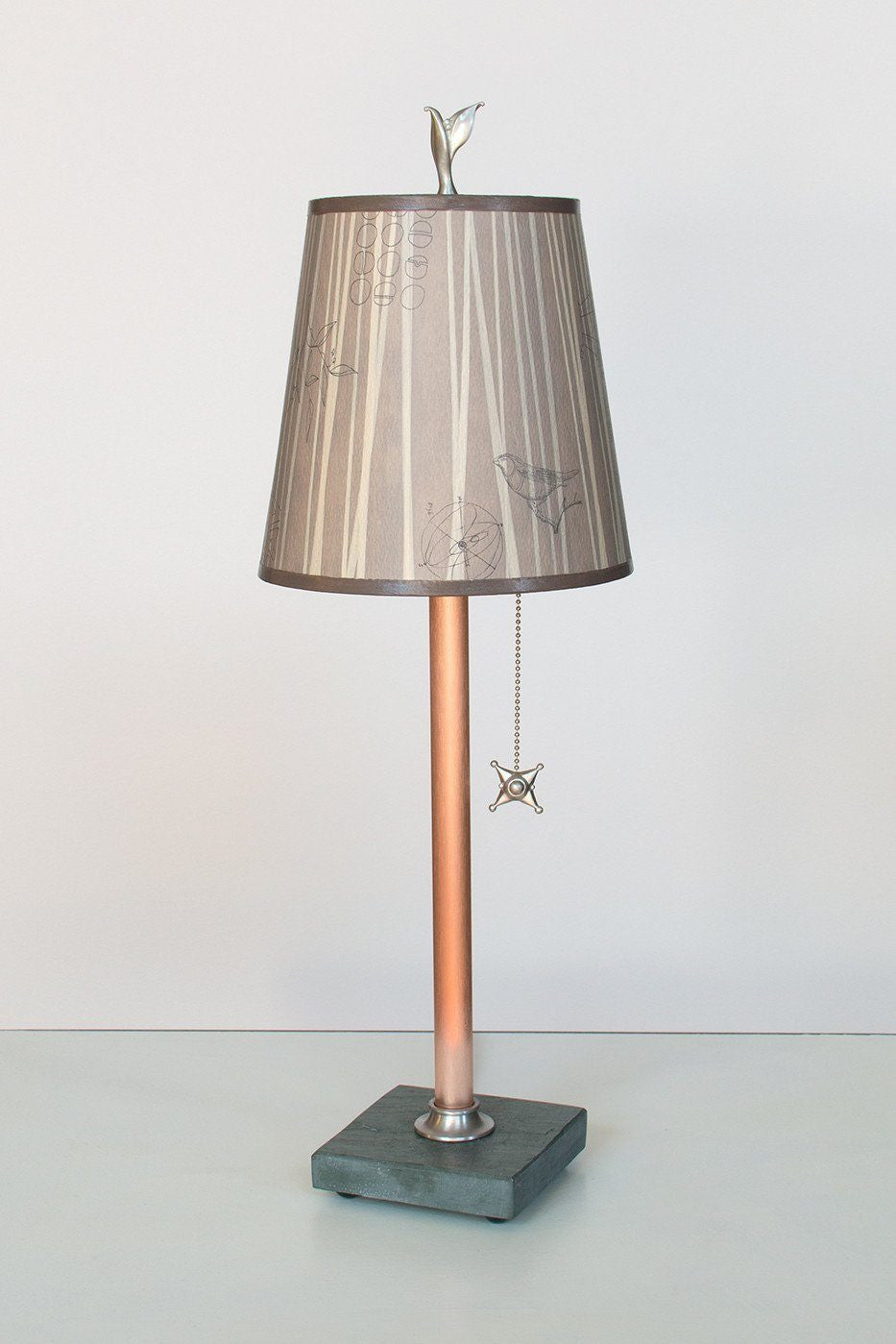 Copper Table Lamp On Vermont Slate Base With Small Drum Shade In Birch