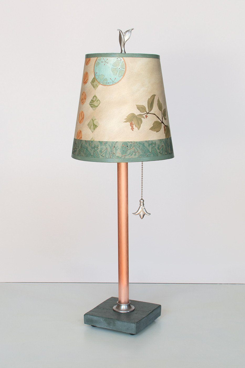 Copper Table Lamp on Vermont Slate Base with Small Drum Shade in Celestial Leaf Lit