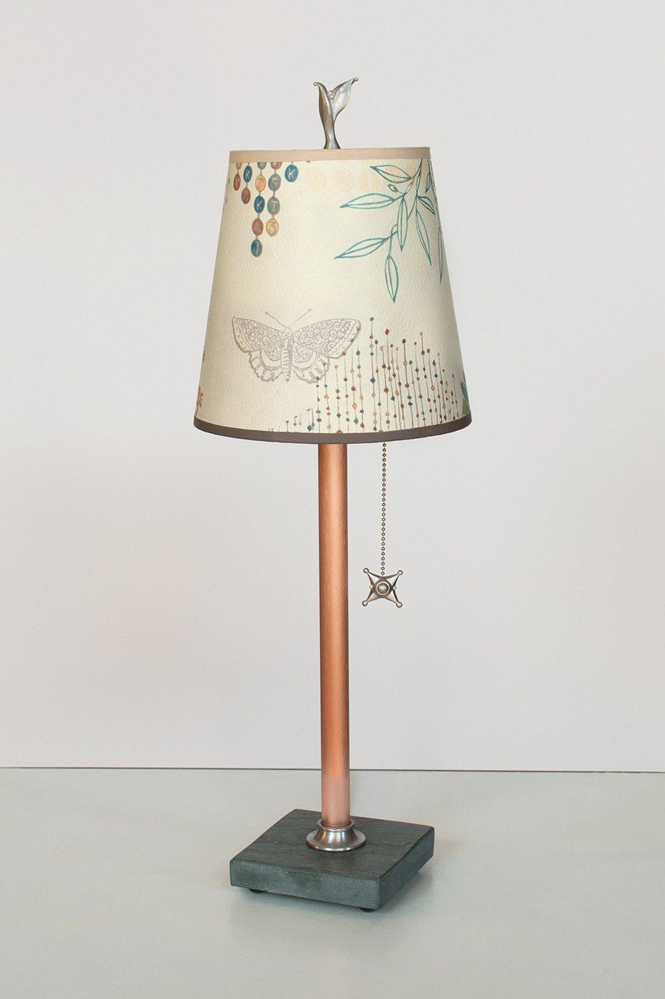 Copper Table Lamp on Vermont Slate Base with Small Drum Shade in Ecru Journey Lit