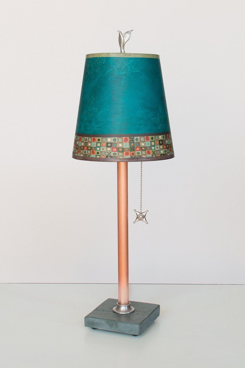 Copper Table Lamp on Vermont Slate Base with Small Drum Shade in Jade Mosaic