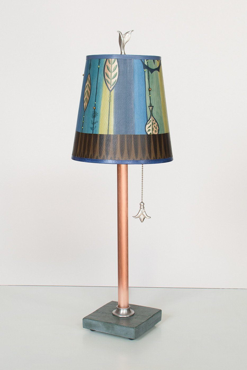 Copper Table Lamp on Vermont Slate Base with Small Drum Shade in Leaf Stripe Blues Lit