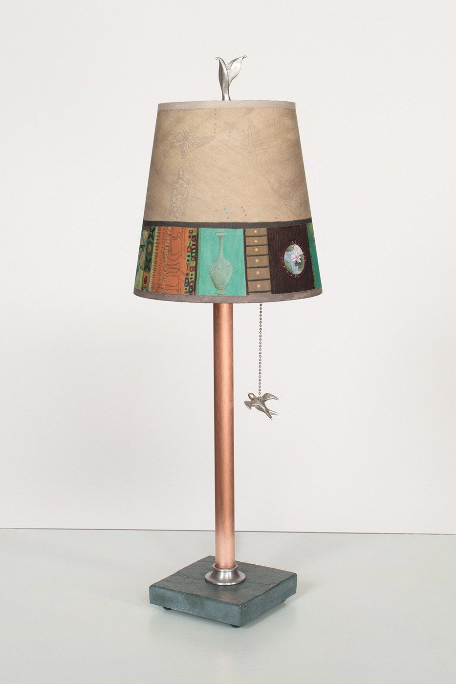Copper Table Lamp on Vermont Slate Base with Small Drum Shade in Linen Match Lit