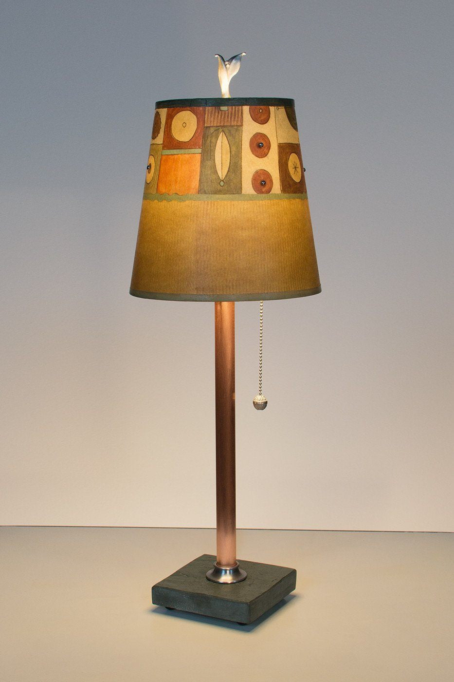 Copper table lamp on vermont slate base with small drum shade in copper table lamp on vermont slate base with small drum shade in lucky mosaic hickory lit geotapseo Image collections