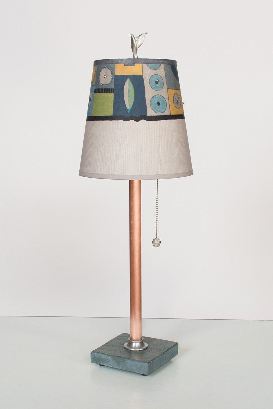 Copper Table Lamp  on Vermont Slate Base with Small Drum Shade in Lucky Mosaic Oyster Lit