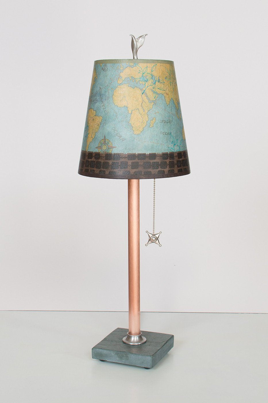 Copper Table Lamp on Vermont Slate Base with Small Drum Shade in Map Lit