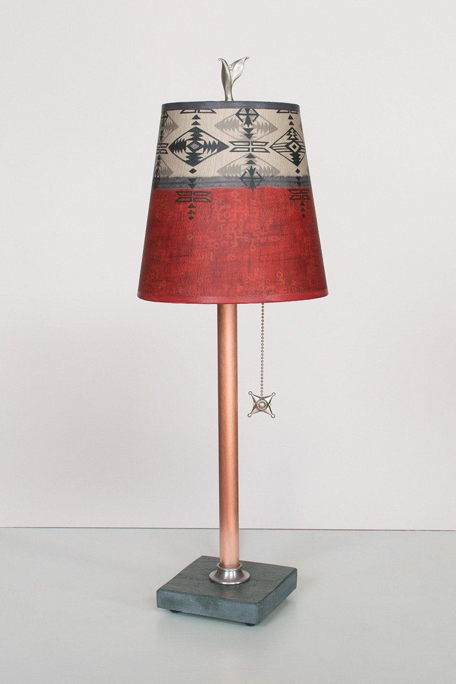Copper Table Lamp on Vermont Slate Base with Small Drum Shade in Mesa Lit