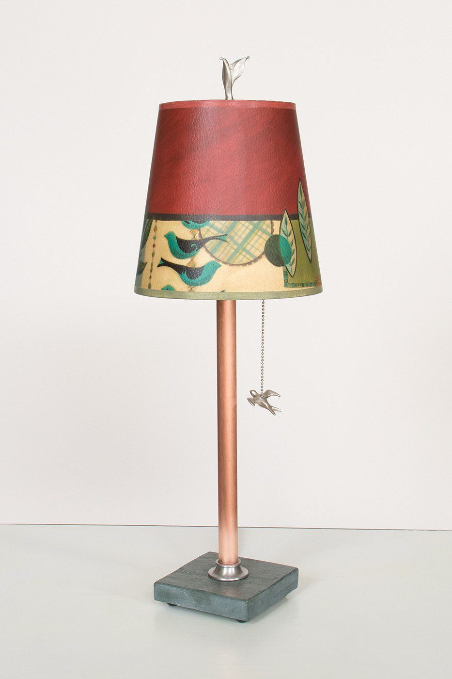 Copper Table Lamp on Vermont Slate Base with Small Drum Shade in New Capri Lit