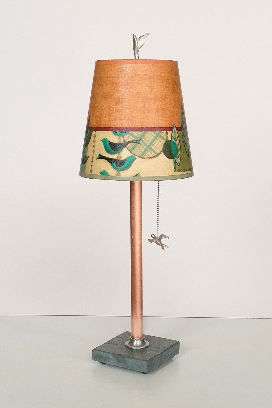 Copper Table Lamp on Vermont Slate Base with Small Drum Shade in New Capri Spice Lit