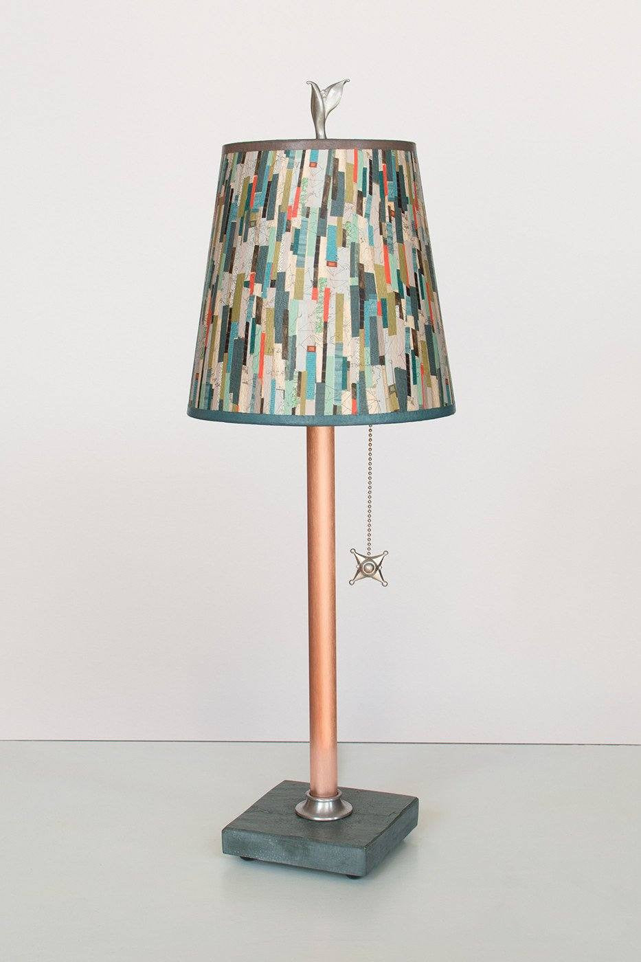 Copper Table Lamp on Vermont Slate Base with Small Drum Shade in Papers Lit