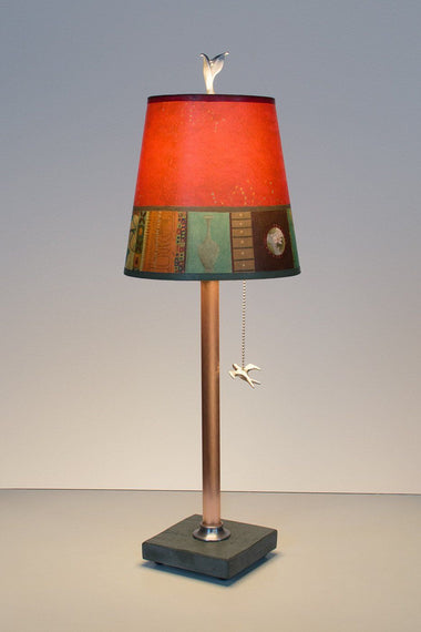 Copper Table Lamp On Vermont Slate Base With Small Drum Shade In Red Match  Lit ...