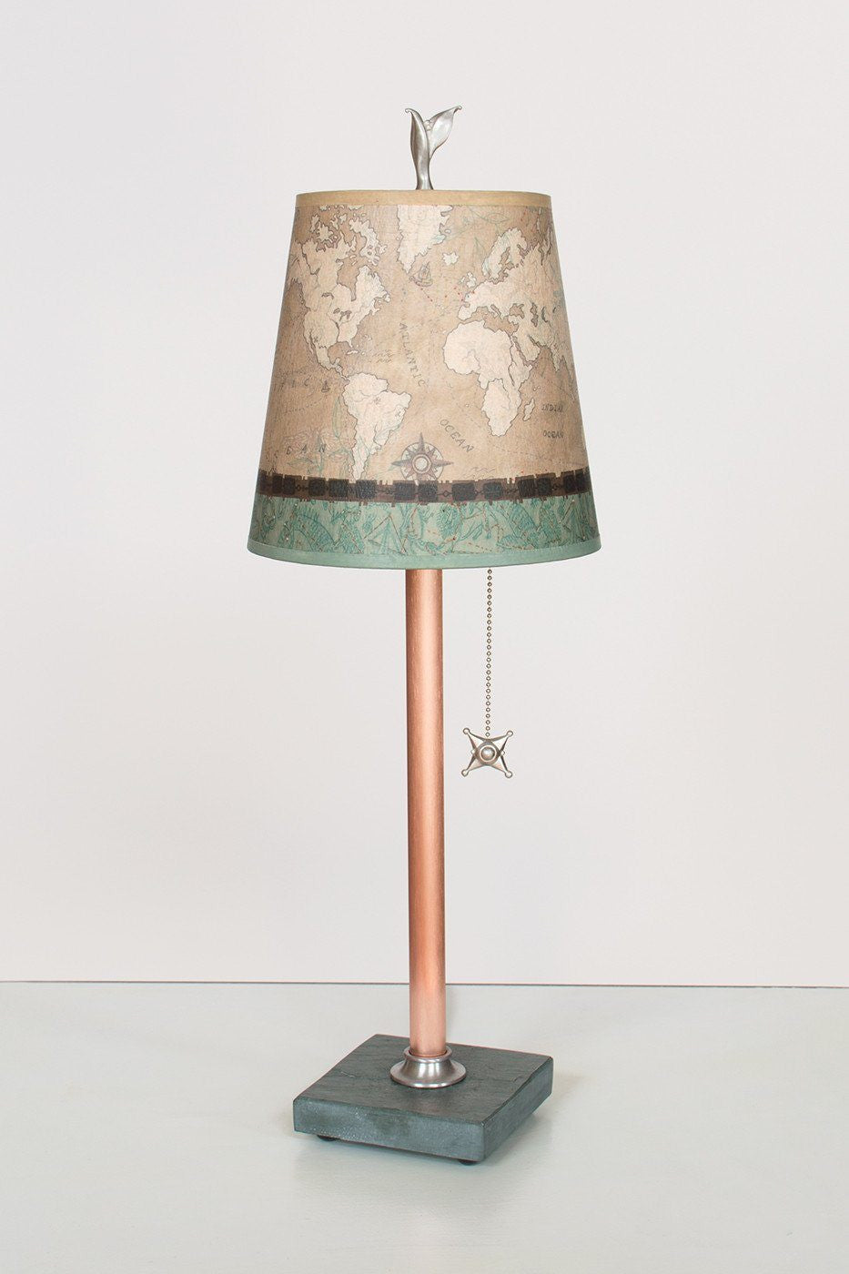 copper table lamp on vermont slate base with small drum shade in sand map - Drum Shade