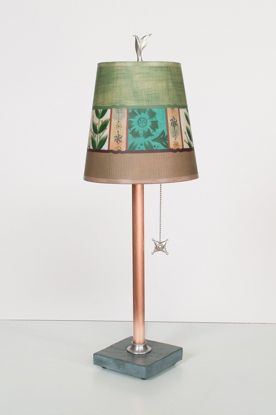 Copper Table Lamp on Vermont Slate Base with Small Drum Shade in Spring Medley Apple Lit