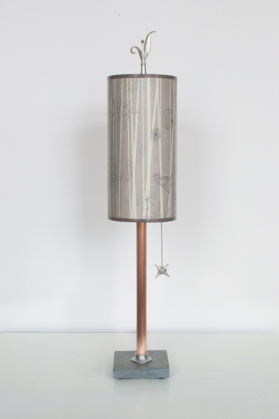 Copper Table Lamp on Vermont Slate with Small Tube Shade in Birch