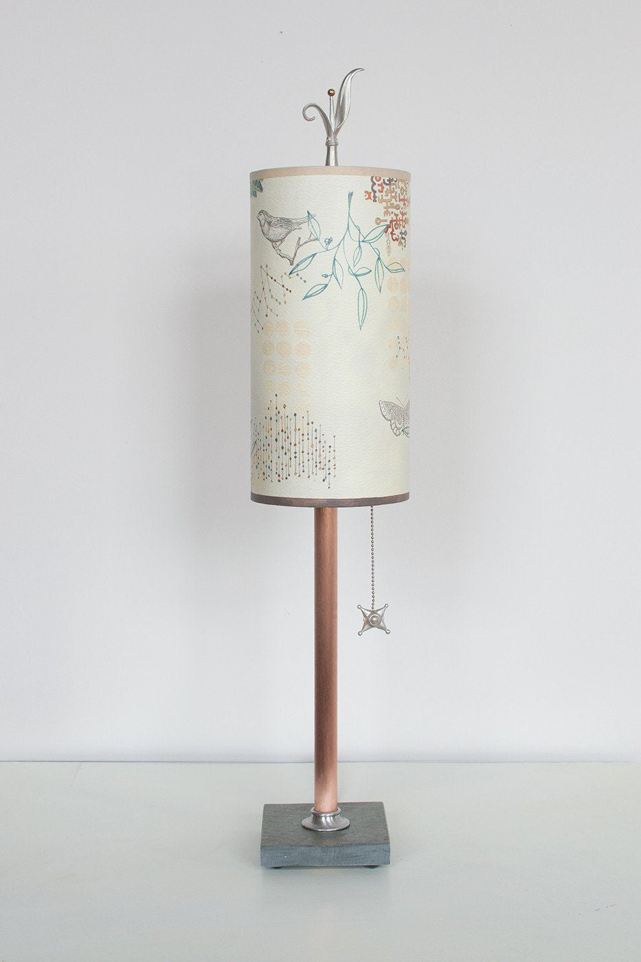 Copper Table Lamp on Vermont Slate with Small Tube Shade in Ecru Journey