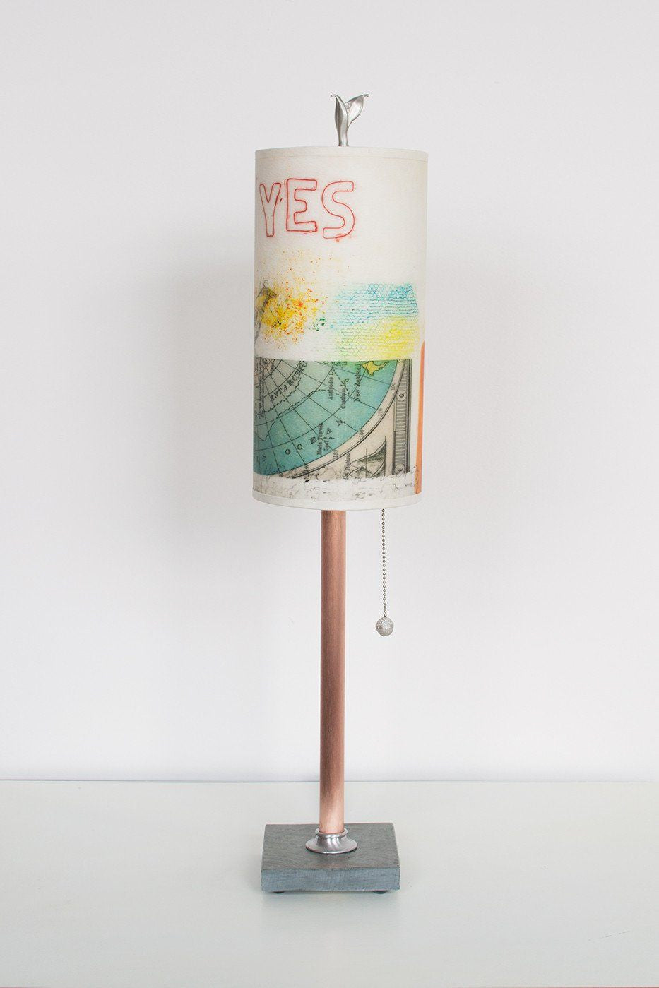 Copper Table Lamp on Vermont Slate with Small Tube Shade in Mix