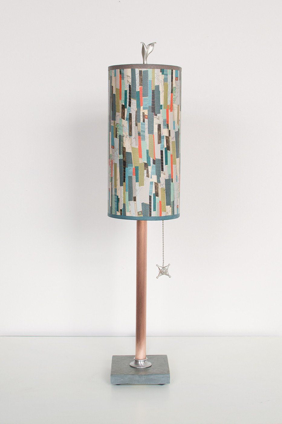 Copper Table Lamp on Vermont Slate with Small Tube Shade in Papers