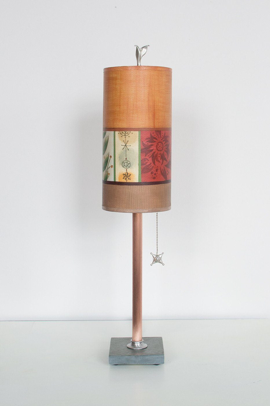 Copper Table Lamp on Vermont Slate with Small Tube Shade in Spring Medley Spice