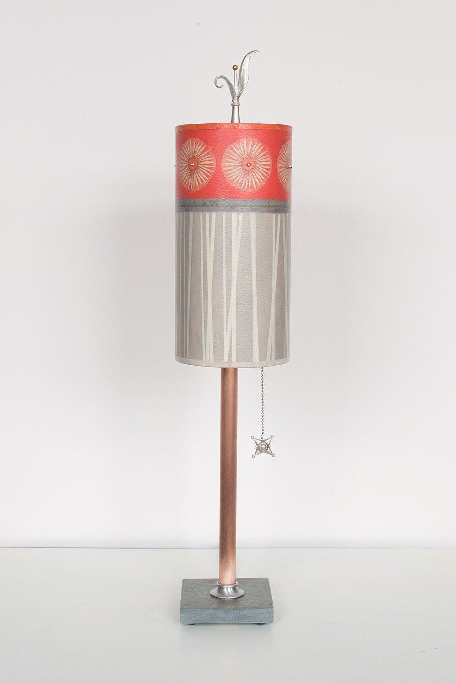 Copper Table Lamp on Vermont Slate with Small Tube Shade in Tang