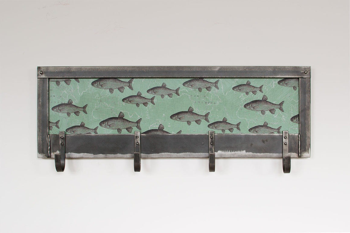 Steel Coat Rack with Fish