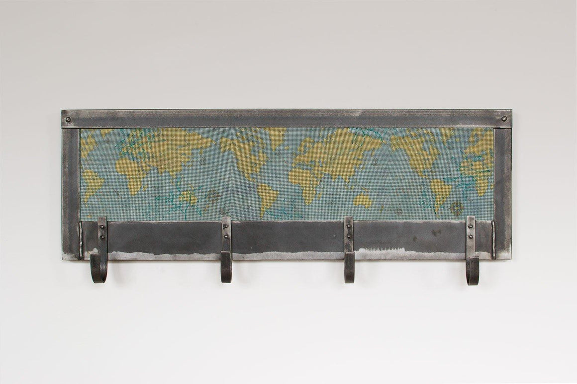 World Map Steel Coat Rack