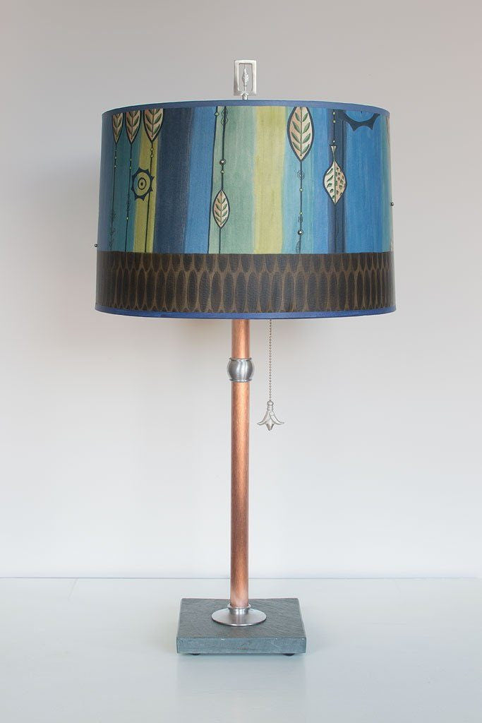 Leaf Stripes in Blue Table Lamp with Large Drum Shade