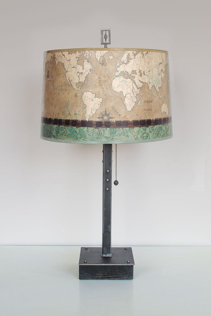 Voyages Sand Table Lamp with Large Drum Shade