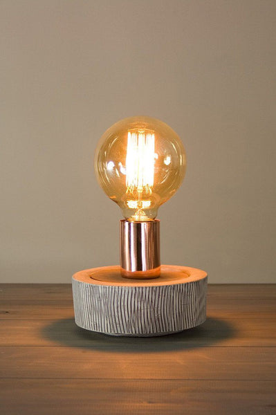 Edison Bulb Table Lamp In Bark