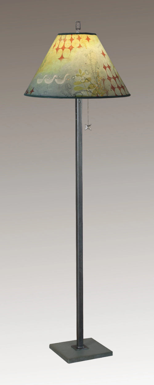 Steel Floor Lamp on Italian Marble with Large Conical Shade in Dream Bird