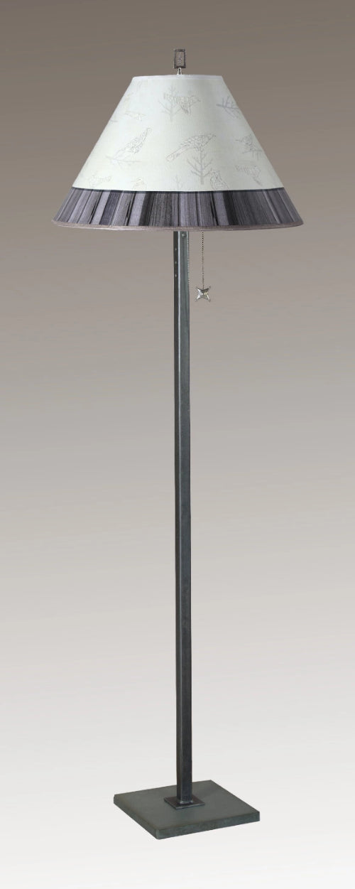 Steel Floor Lamp on Italian Marble with Large Conical Shade in Perch