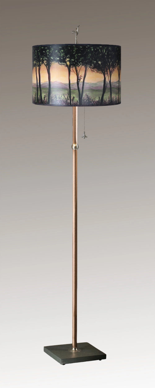 Copper Floor Lamp on Vermont Slate with Large Drum Lampshade in Dawn