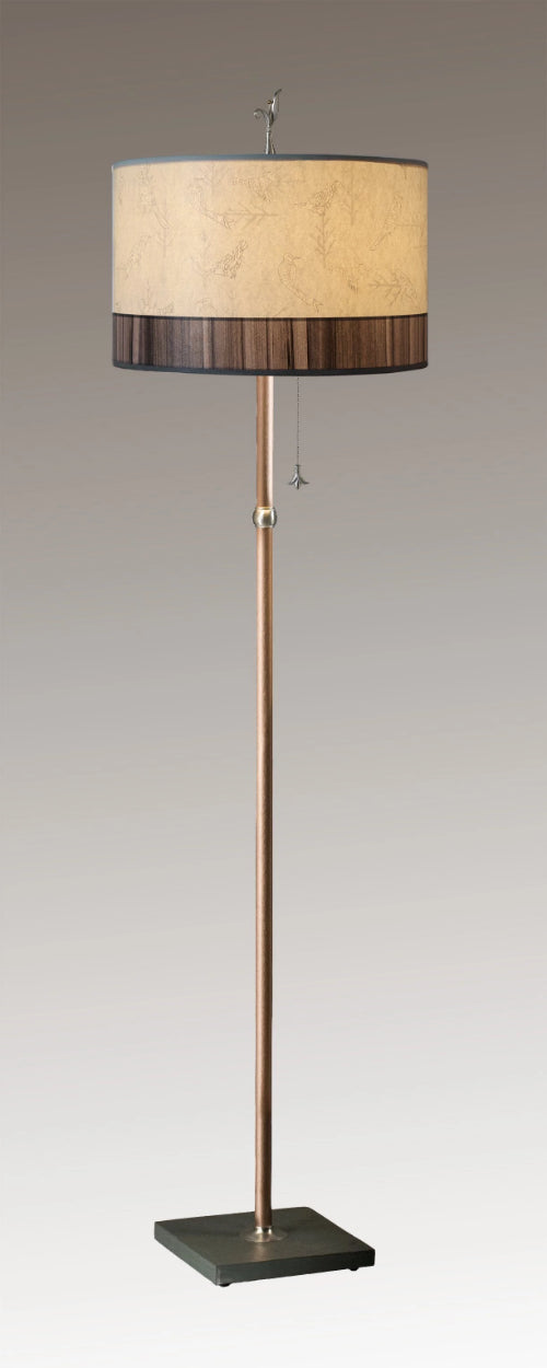 Copper Floor Lamp on Vermont Slate with Large Drum Lampshade in Perch