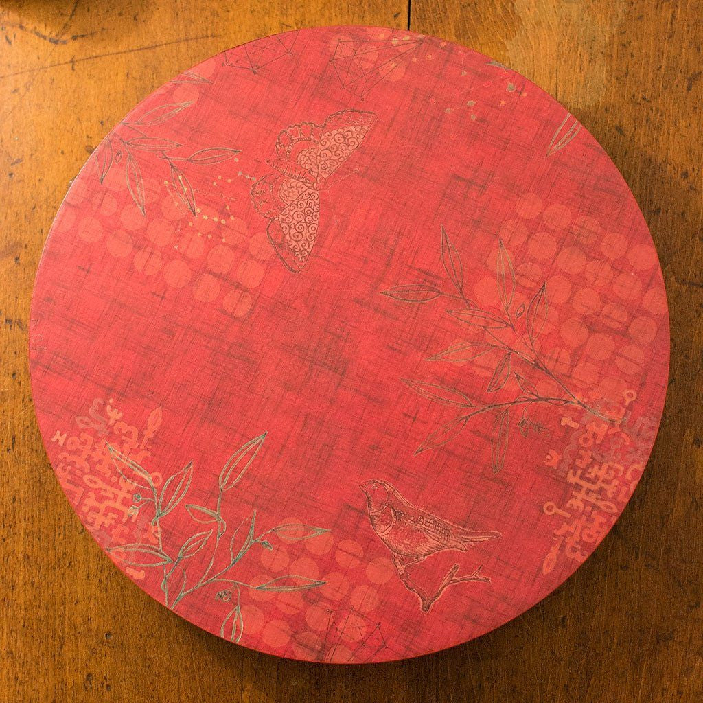 Red Lazy Susan on Kitchen Table