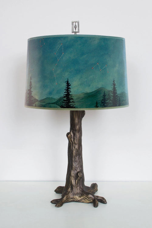 Midnight Sky Large Drum Shade Tree Base Table Lamp