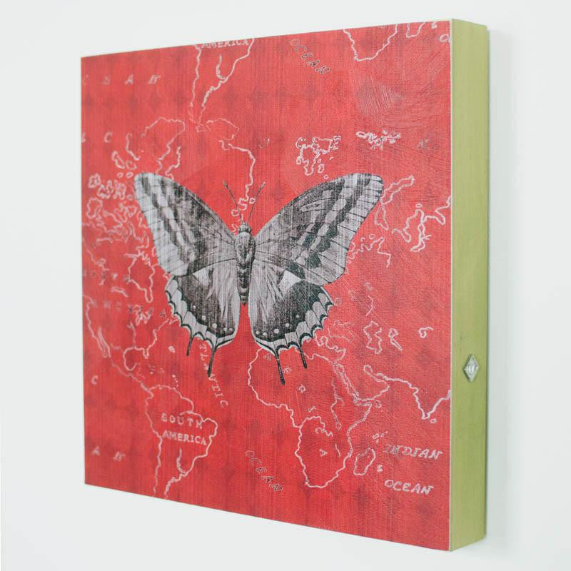 Red Butterfly Square Art Panel