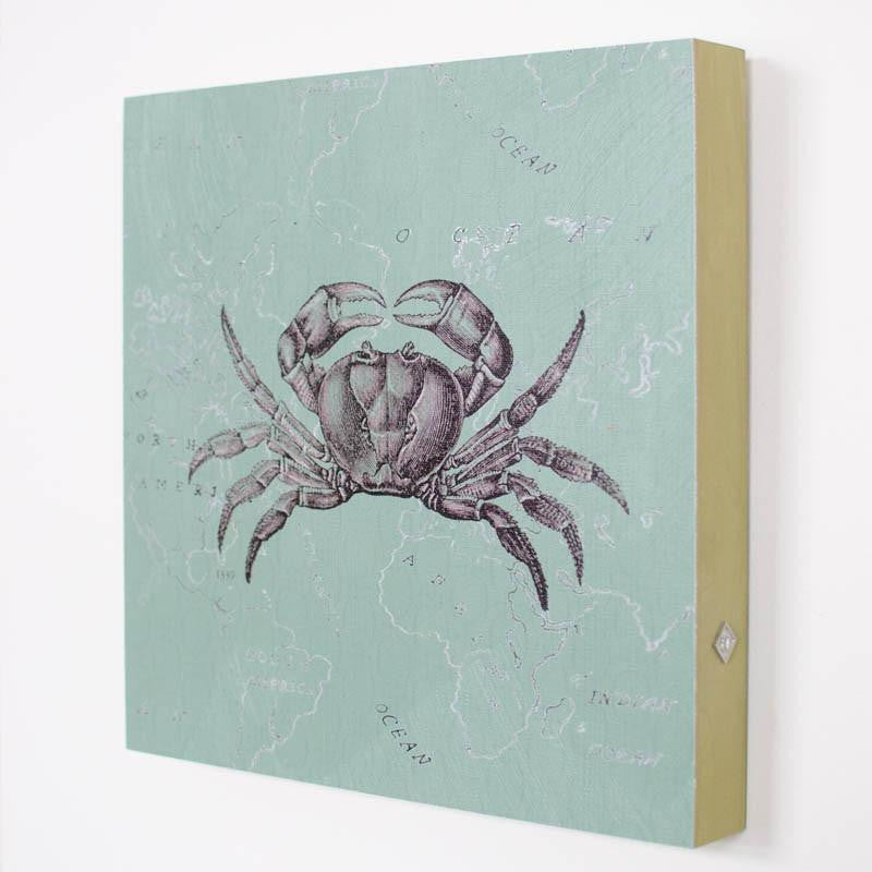 Celedon Crab Art Panel