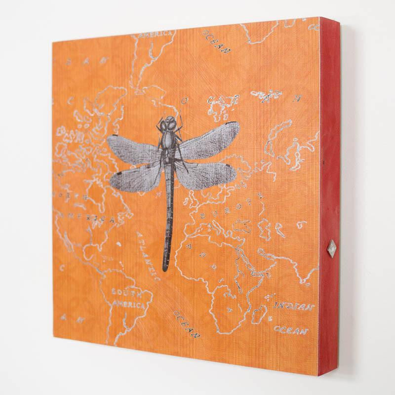 Orange Dragonfly Square Art Panel