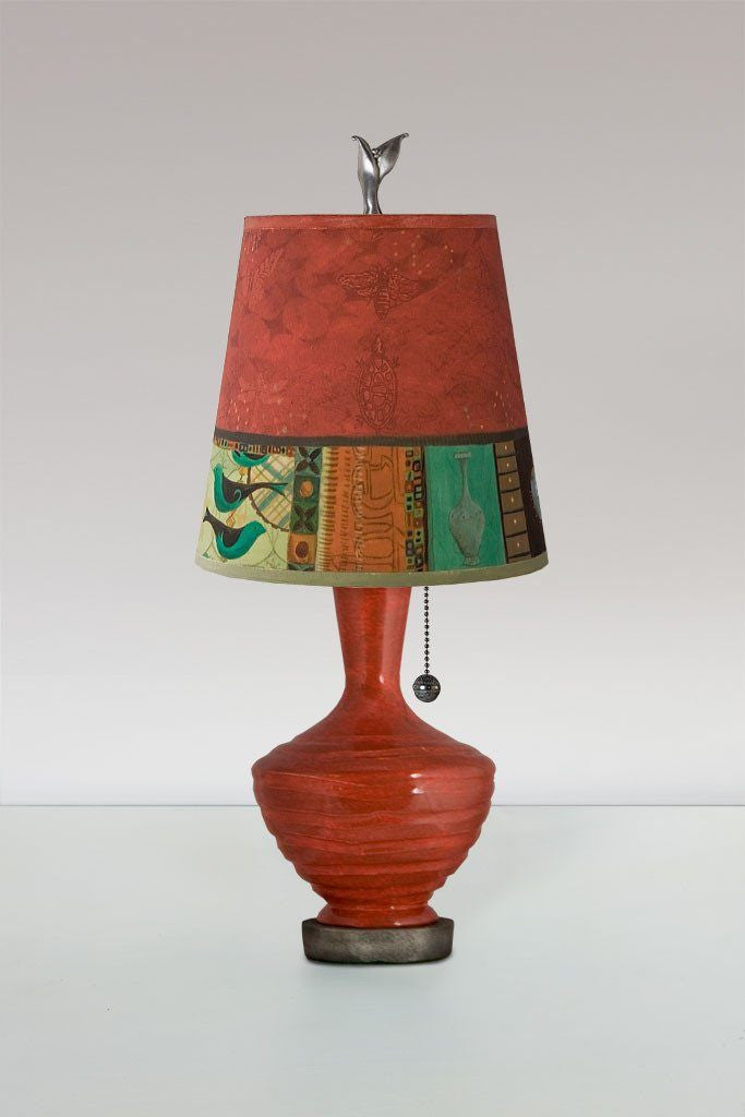 Red Ceramic Table Lamp with Small Drum Shade in Red Match