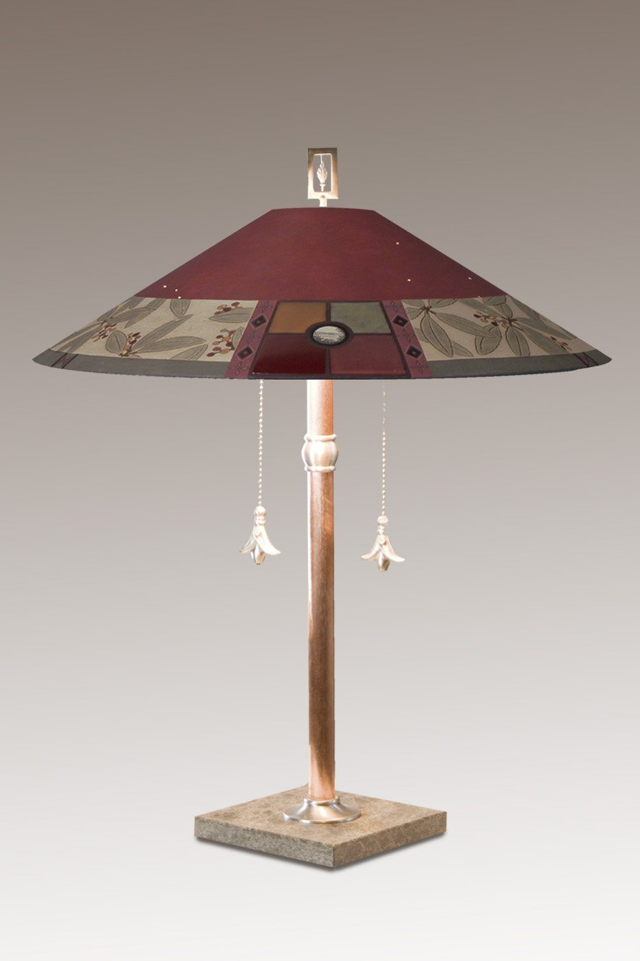 Copper Table Lamp with Large Wide Conical Ceramic Shade in Mountain Laurel in Redwood