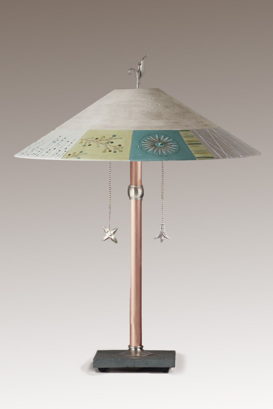 Copper Table Lamp with Large Wide Conical Ceramic Shade in Modern Field