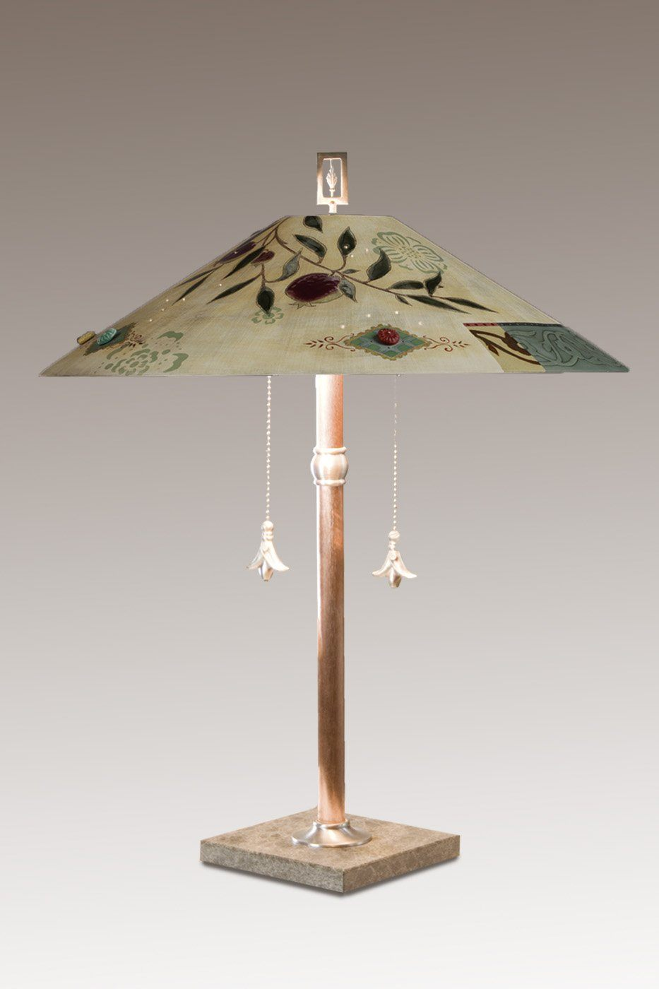 Copper Table Lamp with Large Wide Conical Ceramic Shade in Pomegranate
