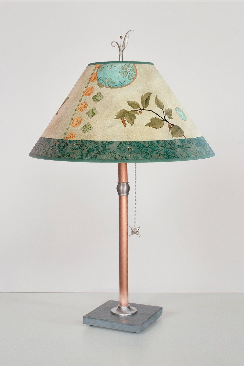 Celestial Leaf large conical copper table lamp lit