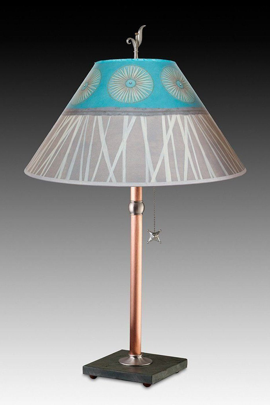 Copper Table Lamp on Vermont Slate with Large Conical Shade in Pool