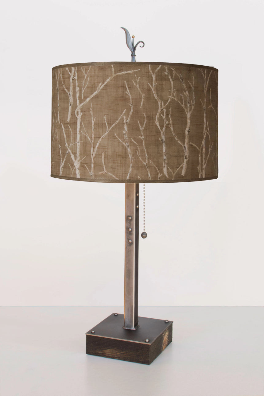 Steel Table Lamp on Wood with Large Drum Shade in Twigs