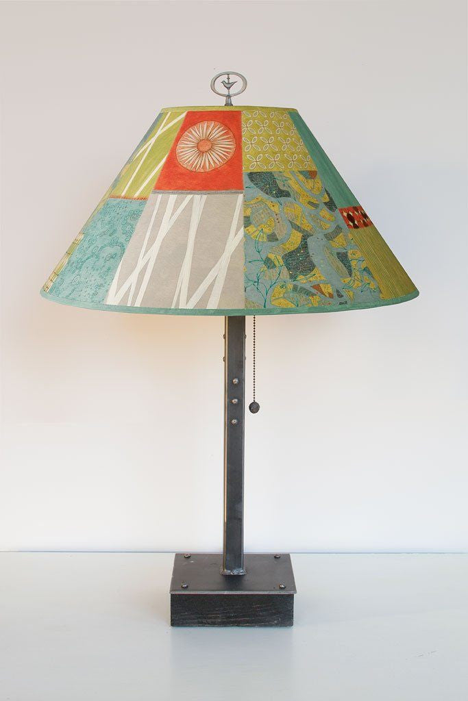 Steel Table Lamp on Wood with Large Conical Shade in Zest