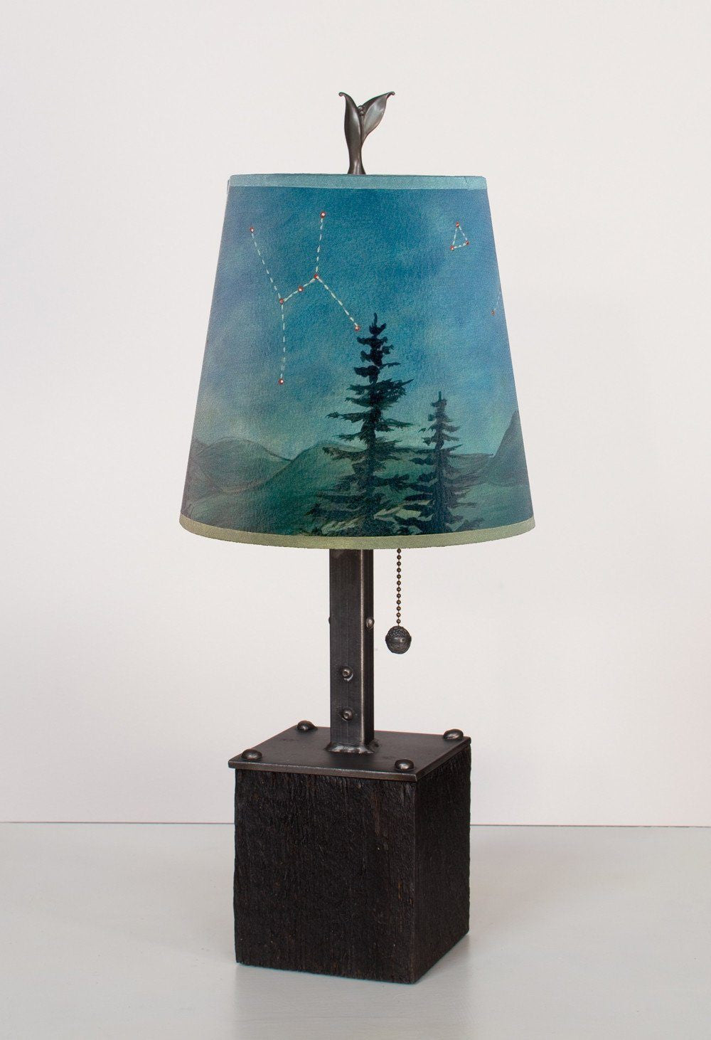 Steel Table Lamp on Reclaimed Wood with Small Drum Shade in Midnight Sky