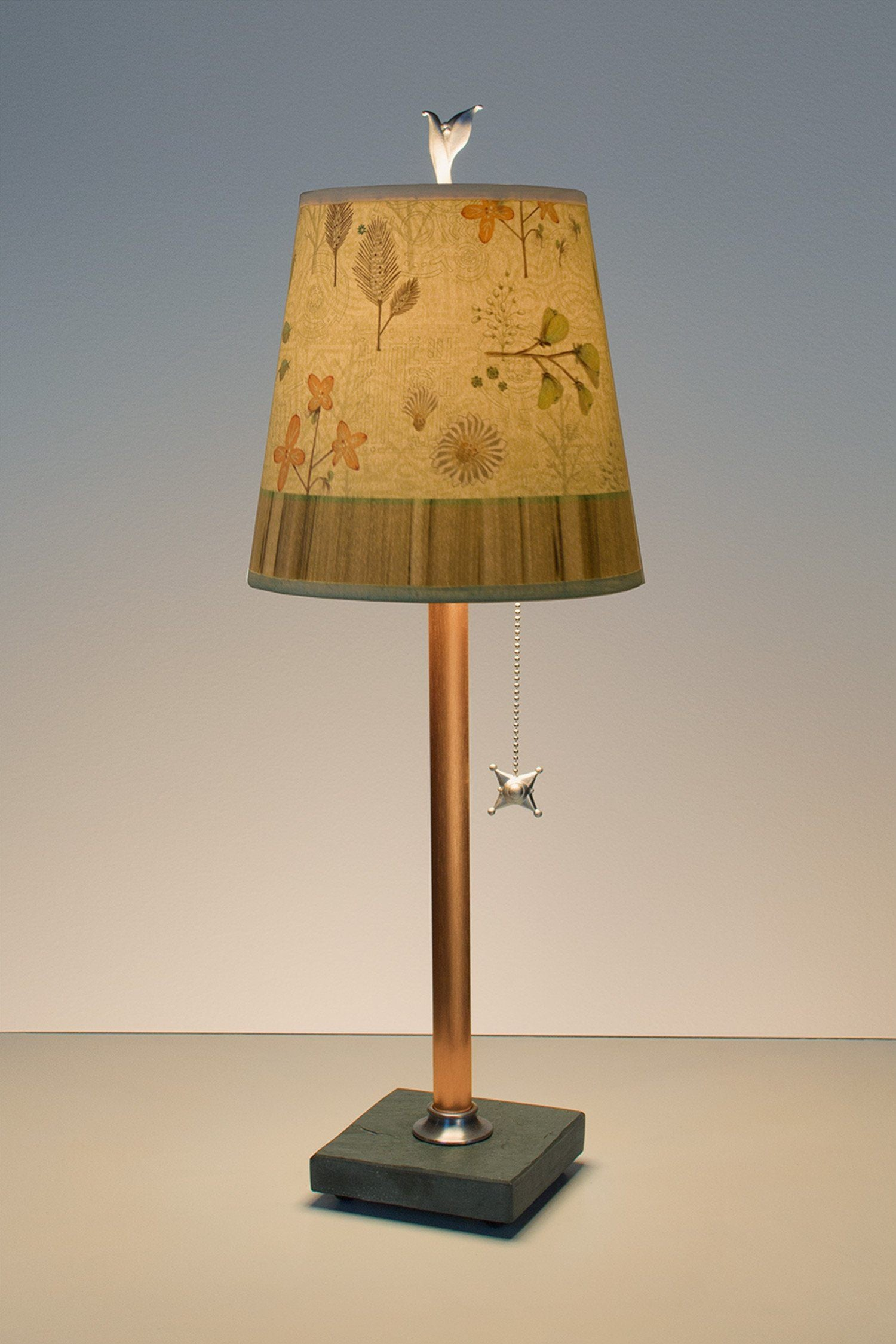 Copper Table Lamp On Vermont Slate Base With Small Drum Shade In Flora U0026  Maze