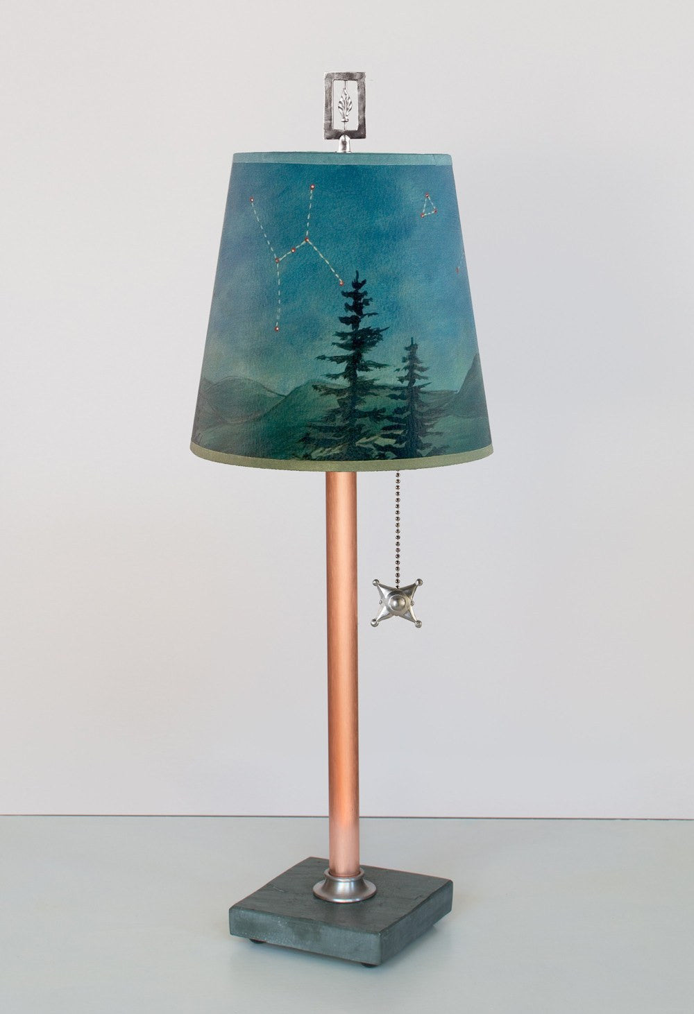 Copper Table Lamp on Vermont Slate with Small Drum Shade in Midnight Sky LIT